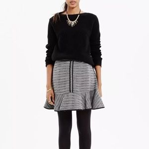 Madewell Textured Black Boucle Tulip Knit Skirt